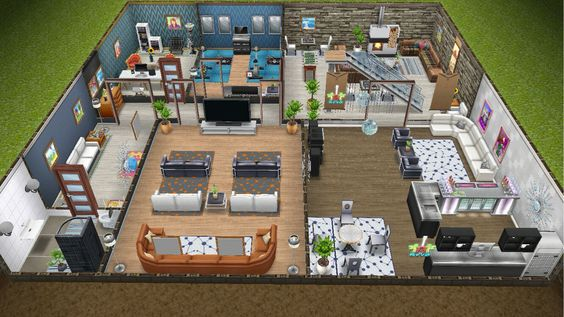 Modern design home for the Justice family - rear view basement - in my Sims…