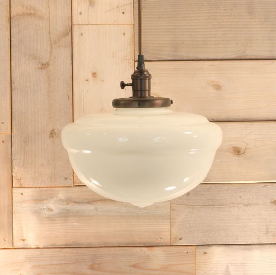Lighting fixture with large schoolhouse style glass shade and exposed socket design kitchen - Schoolhouse lights kitchen ...