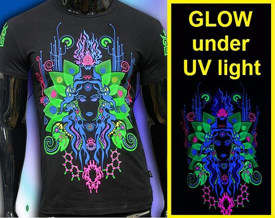 fluorescent t-shirt Glow under UV blacklight rave por RaveDesign