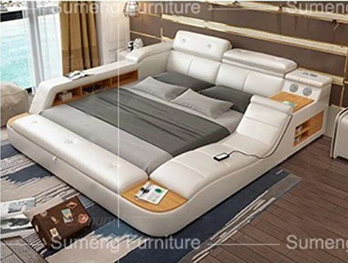 All In One Leather Double Bed Frame With Speakers Storage Safe Perfect Relaxation Su King Size Or Queen Size King