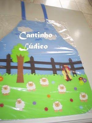 Avental de história - O bom pastor.  http://cantinholudicodagre.blogspot.com.br/2010/08/aventais-de-historia.html