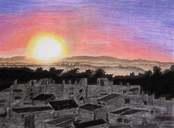 Fertiges Pastellgemälde: Sonnenuntergang und Stadt