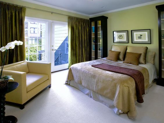 green bedroom curtins   Olive Curtain White Floor Soft Green Wall ...