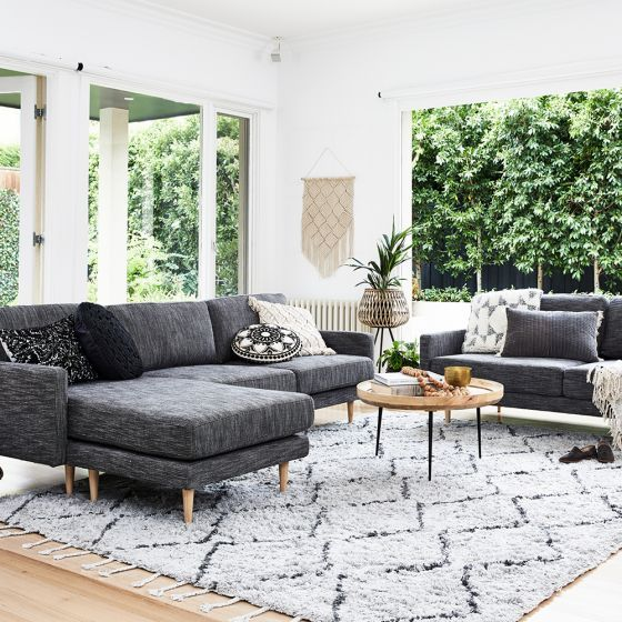 Boden 3 Seater Chaise Sofa Charcoal With Images Charcoal Sofa