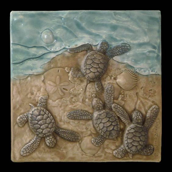 home decor animal art baby sea turtles ceramic sculpture tile theres