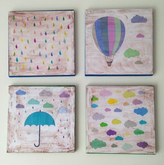 Wooden art block 6x6 Four Pieces Set collage by BannerDesignShop
