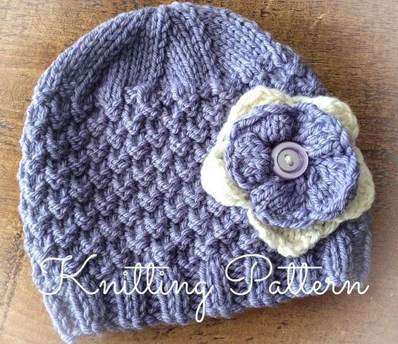 Knitting Pattern Baby Hat Worsted Weight Yarn : Knitting Pattern/DIY Instructions - Bluebell Baby Beanie ...