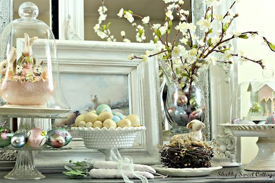 wow.  look at her collection of gorgeous shabby Easter beauties.  lovely display. via shabby sweet cottage