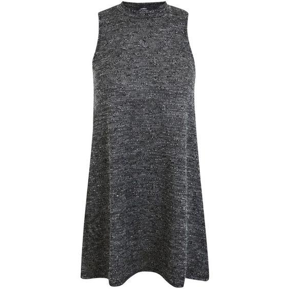 Miss Selfridge Petite Boucle Tunic Dress, Mid Grey (€13) ❤ liked on Polyvore featuring dresses, petite, gray maxi dress, sleeveless dress, smocked dresses, grey maxi dress and sleeveless maxi dress