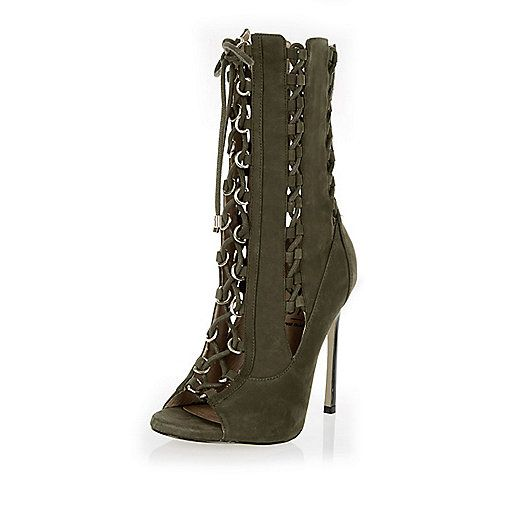 Khaki RI Studio leather lace-up heeled boots - ankle boots - shoes ...