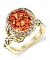 Mandarin Garnet Halo Ring - Mark Schneider Design