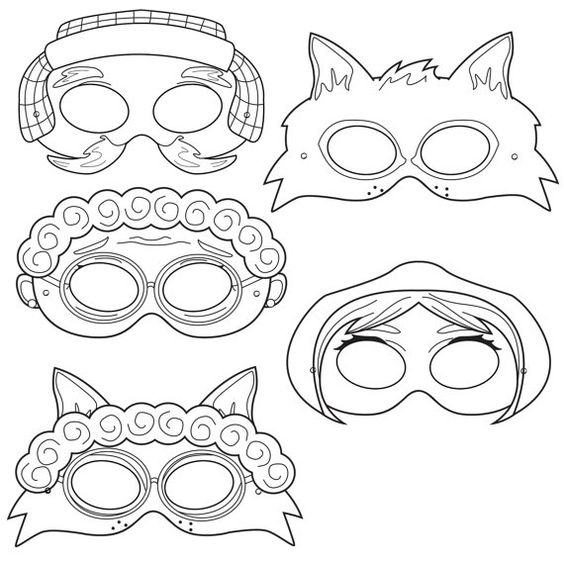Little Red Riding Hood Printable Black and White Line Art Party Masks: