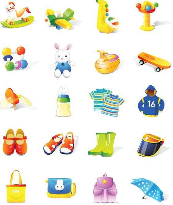 Children's stuff illustrations vector
