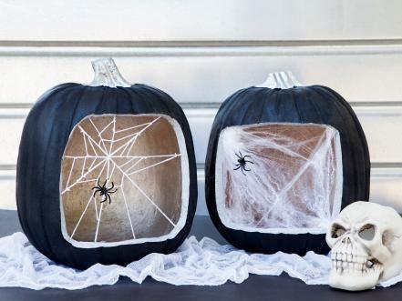 Spider Web Window Pumpkins