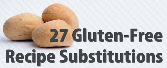 Gluten Free Substitutes: Free Substitutes, Gf Substitute, Recipes Gluten, Food Gluten, 27 Gluten, Gluten Free Recipes, Free Substitutions, Gluten Substitutions