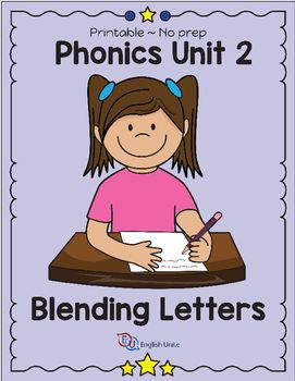 WORKBOOK UPDATED ON 4 JULY 2016.This unit is part of a six-part mini phonics course, especially developed for ESL learners. Unit 2 focuses on the blending two and three letters together to make short words. The workbook includes 45 worksheets, 41 flash cards and blending sliders.