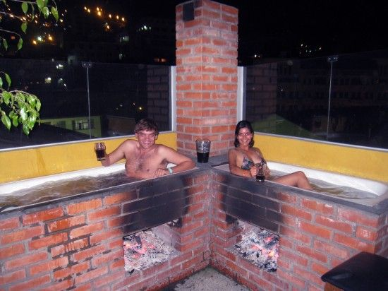 Wood fired outdoor beer spa no really unique for Outdoor bathtub wood fired