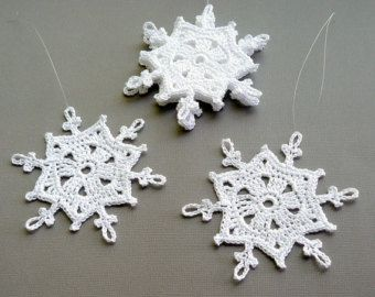6 Crochet Christmas Decorations Large Snowflake by CaitlinSainio