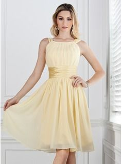 A-Line/Princess Scoop Neck Knee-Length Chiffon  Charmeuse Bridesmaid Dresses With Ruffle  $94.99