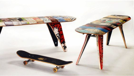 Recycled Skateboard Bench -coles room