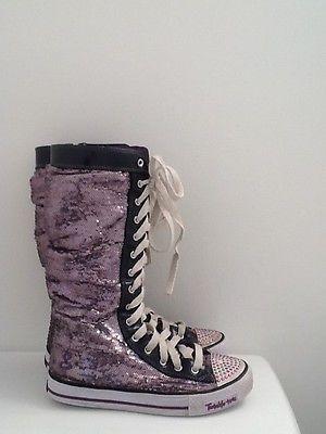 Girls Skechers Twinkle Toes Purple Sequin Hi Top Sneakers Boots Shoes Size 5 | eBay