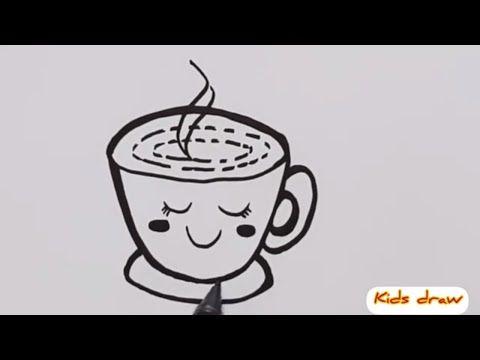 رسم فنجان قهوة كرتون سهل رسم كرتوني سهل للاطفال خطوة خطوة Kids Draw How To Draw Cup Of Coffee Easy Youtube Drawing For Kids Cartoon Drawings Cartoon
