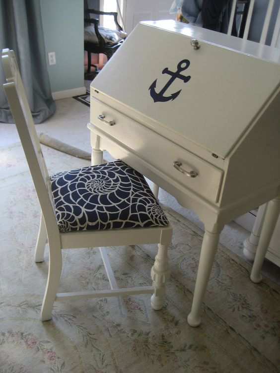Nautical Desk And Chair Give Wooden Furniture A Makeover With Chrome Ings Navy White Paint Fabric Pinterest Desks