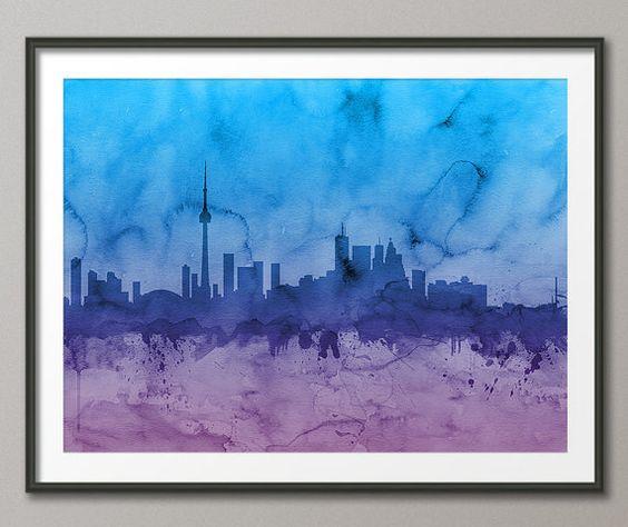 Toronto Canada City Skyline Art Print 1102 by artPause on Etsy, £11.99