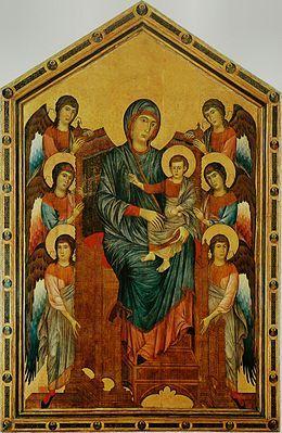 Cimabue, Maesta du Louvre, vers 1280, 424×276 cm, tempera sur bois, feuille d'or, Musée du Louvre. Se trouvait initialement dans l'église San Francesco de Pise.