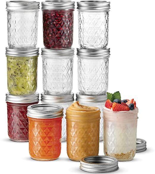 Ball Regular Mouth Mason Jars 8 Oz 12 Pack Canning Jars With Regular Mouth Lids And Bands For Canning Freezing Fermenting Pickling Preserving Microwave
