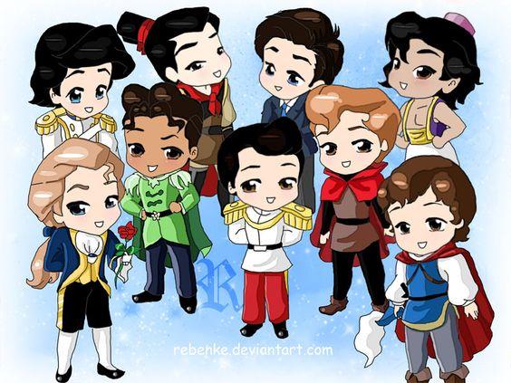 Chibi-Disney Princes by ~rebenke  top left: Eric, Shang, Robert, Aladdin  bottom left: Adam, Naveen, Prince of Cinderella, Philip, Prince of Snow White