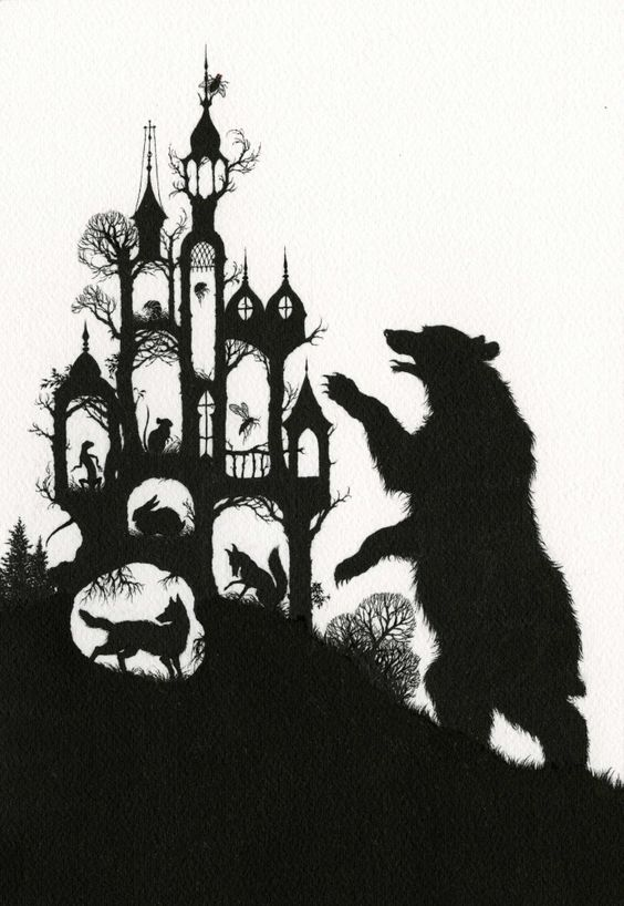 """""""I'm Rumbling Thunder! I'll tumble you under! I'm Bear Thicklegs!""""  Illustration for The Castle of the Fly. Russian folktales"""