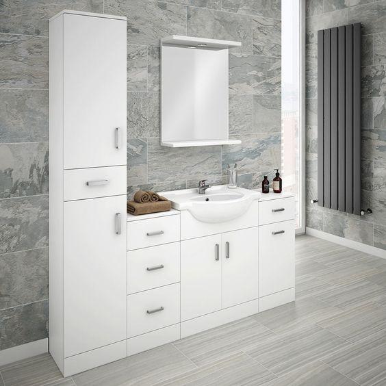 Cove Bathroom Furniture Pack (5 Piece - White Gloss) | Ideas ...