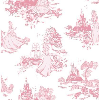 Disney Princess Pink Toile Wallpaper - Pink at Homebase -- Be inspired and make your house a home. Buy now.