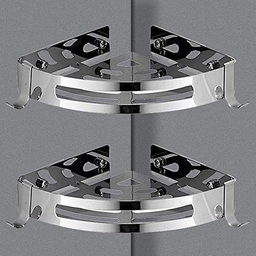 Vivseliy Bathroom Triangular Corner Wall Mounted Stainless Steel Storage Shelf Shelf With Hooks Shower Caddy Self Ad With Images Shower Caddy Storage Shelves Corner Wall