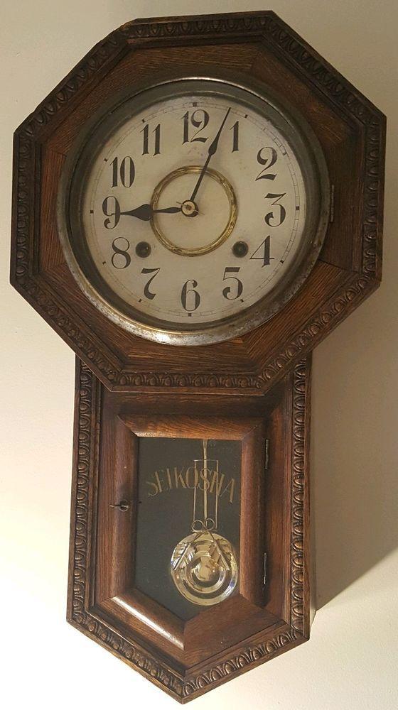 Antique Working 1920s Seikosha Japanese Octagon Drop School Regulator Wall Clock Seikosha Antique Wall Clock Old Clocks Wall Clock
