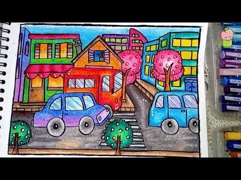 Pemandangan Kota Cara Menggambar Dan Mewarnai Dengan Gradasi Warna Oil Pastel Youtube Cara Menggambar Gambar Kota Buku Mewarnai