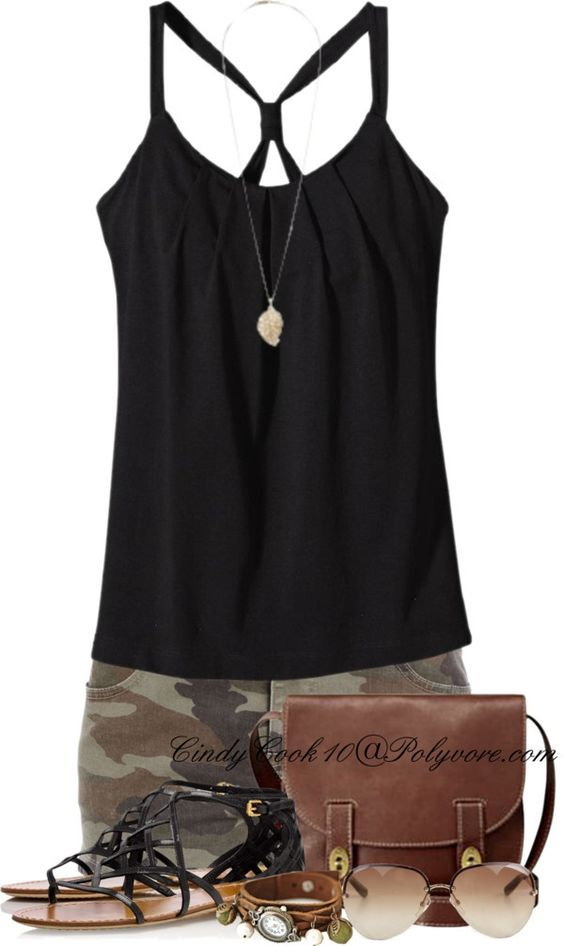 """Lovin' The Camo Shorts"" by cindycook10 ❤ liked on Polyvore"