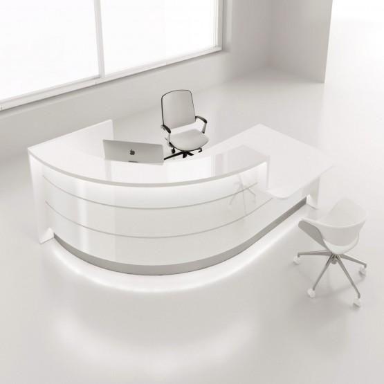 Valde Right Medium Countertop Rounded Reception Desk High Gloss