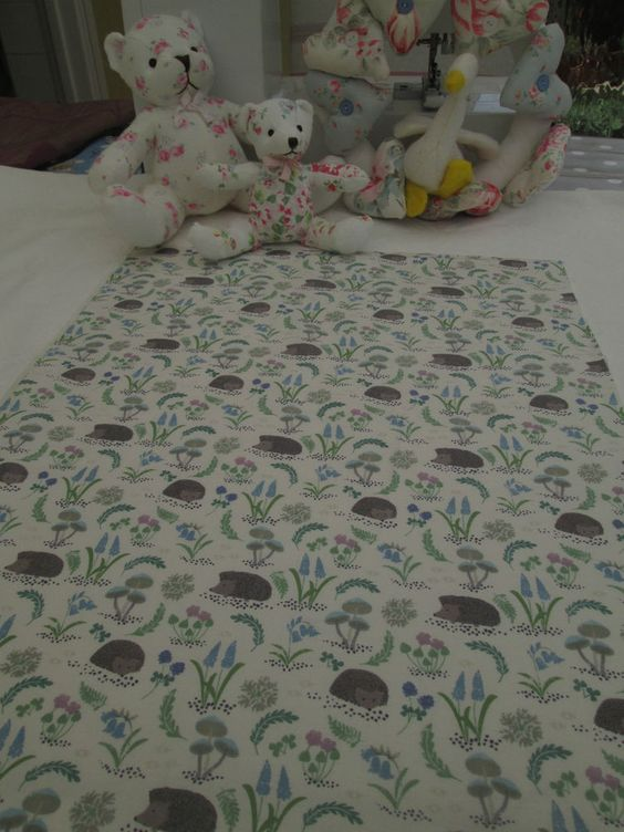 BN Very Pretty Lewis & Irene Haberdashery Cotton Remnant In Hedgehog On White