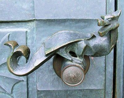 Dragon door handles, Simontornya Castle by carole