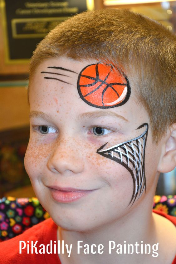 Basketball and net design by pikadilly face painting for Painting ideas for boys