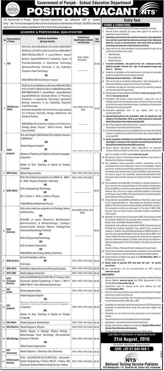 Jobs in Govt. of Punjab (School Education Department)