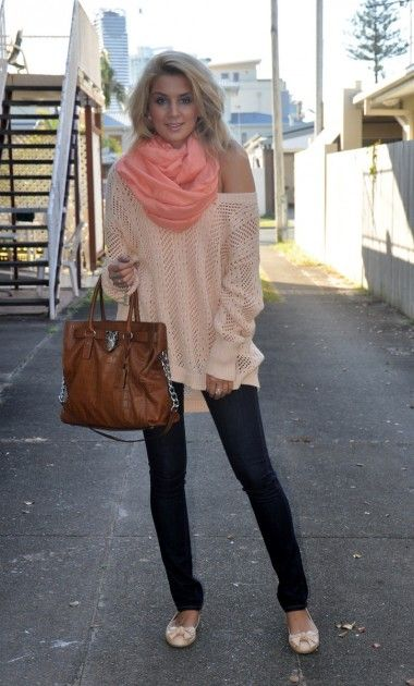 Skinny jeans, pale peach off shoulder sweater and flats, great bag, deeper peach scarf