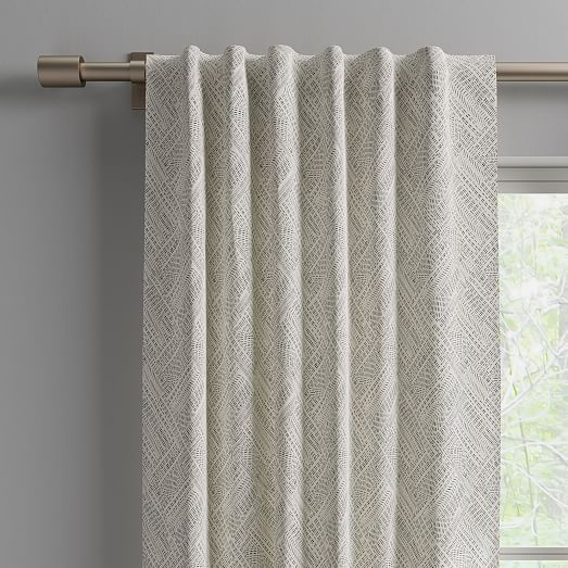 Cotton Canvas Fragmented Lines Curtains Set Of 2 Iron Gate