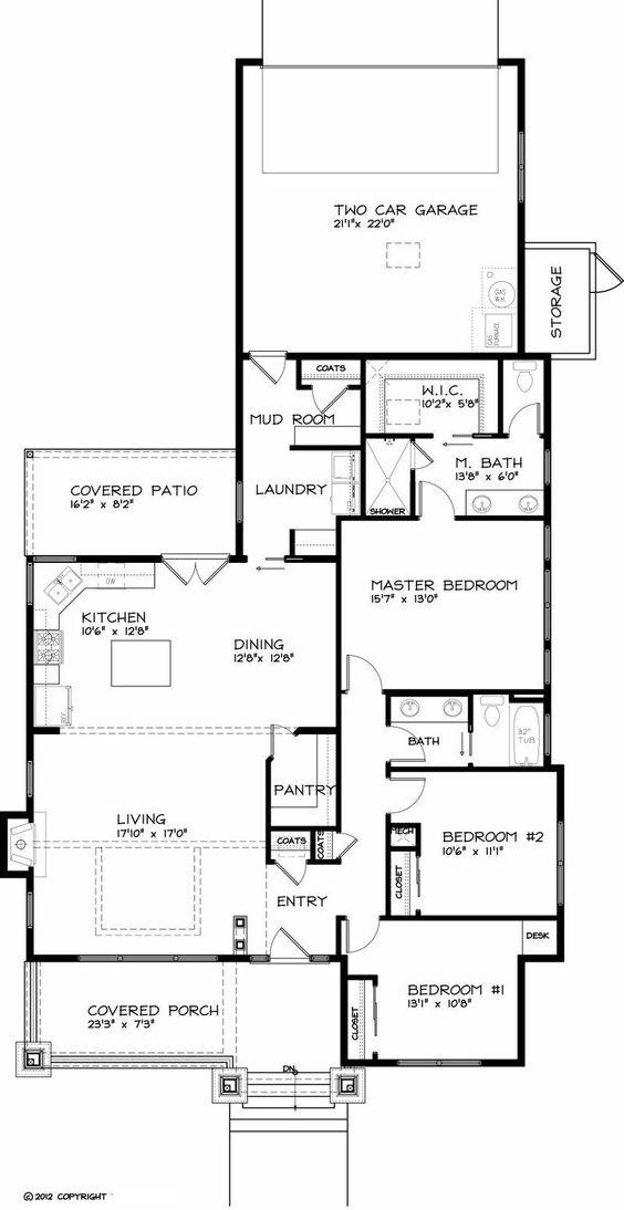 Plan # 434-17 Main Level Not fond of the elevation but I like the floor plan.  Le agregaría foyer, otro mud room por el patio y un segundo piso.