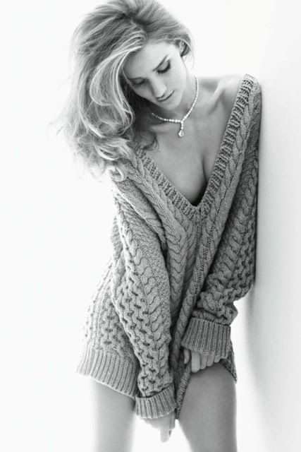 Nothing but tousled hair, an oversized jumper and diamonds...sexy