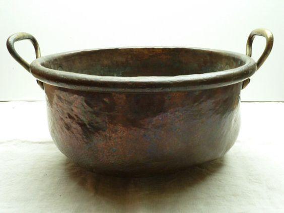 French Antique Copper Cauldron....battered and by LeMoulinBleu, $120.00 SOLD