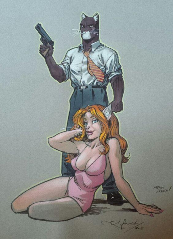 Blacksad & Natalia by Juanjo Guarnido - Illustration