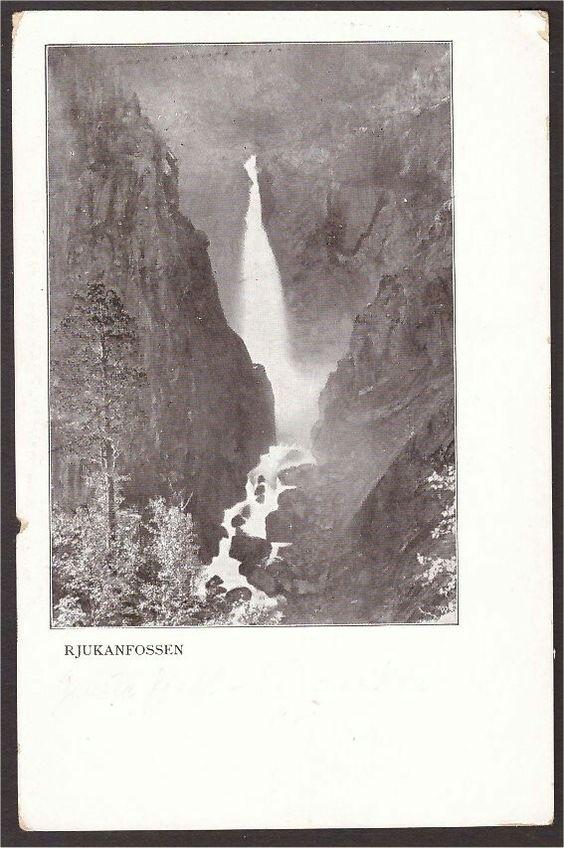 : Rjukanfossen. Påskr. Gamle Fjeld-Telemarken.